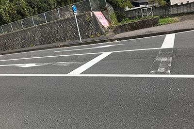 道路改良工事1 危険な停止線